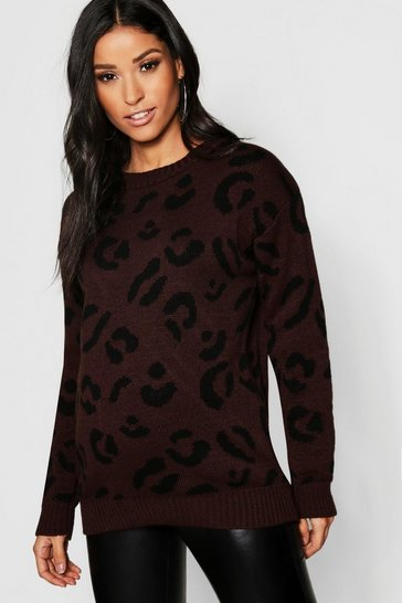 Womens Chocolate Maternity Leopard Knitted Jumper