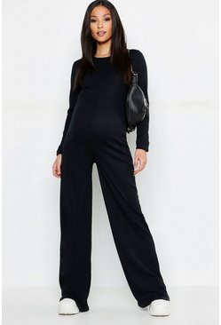 Womens Black Maternity Rib Lounge Jumpsuit