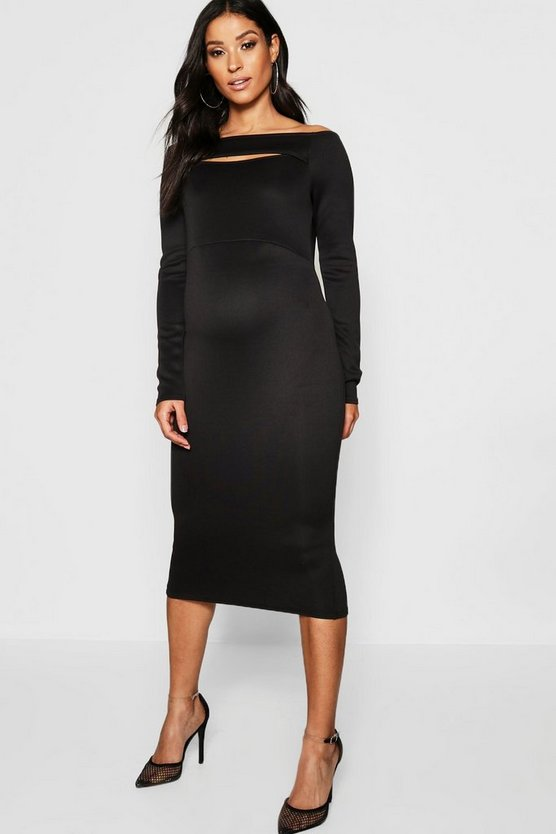 Maternity Bardot Slit Neck Midi Dress