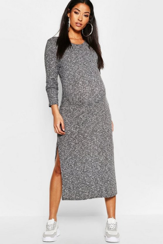 Black Maternity Twisted Rib Crew Neck Maxi Dress