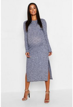 Womens Navy Maternity Twisted Rib Crew Neck Maxi Dress