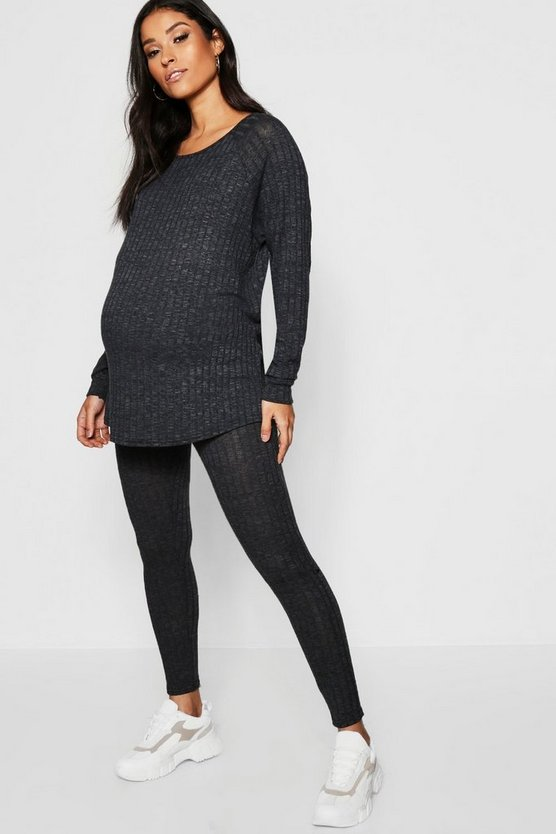 Charcoal Maternity Rib Crew Neck Lounge Set