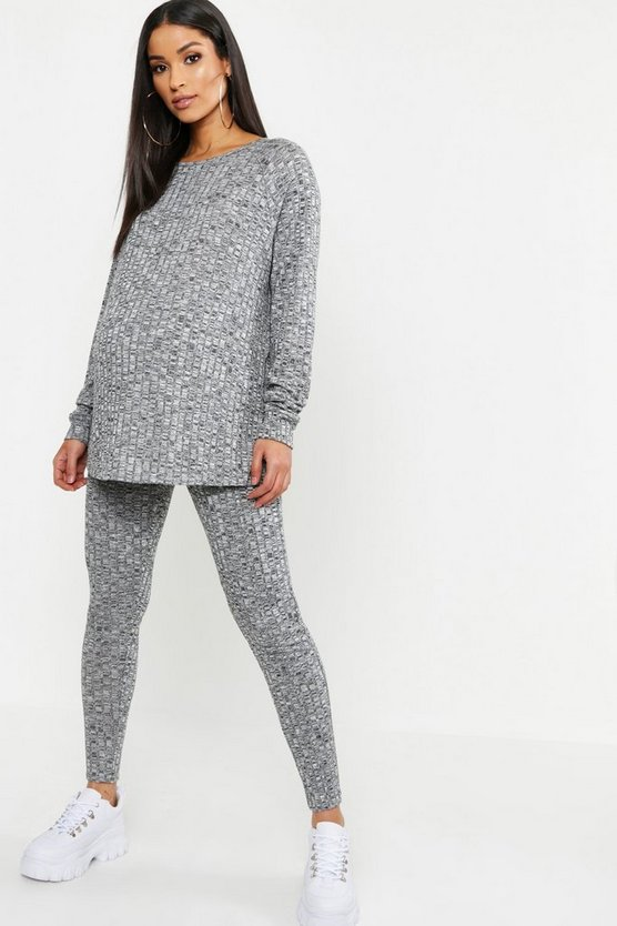 Womens Grey marl Maternity Rib Crew Neck Lounge Set