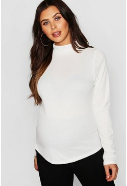 Womens Ivory Maternity Roll Neck Rib Top