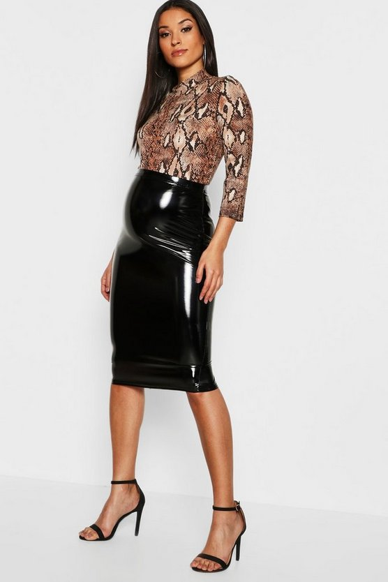 Maternity High Shine Vynl Midi Skirt