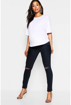 Womens Indigo Maternity Under The Bump Slit Knee Jean