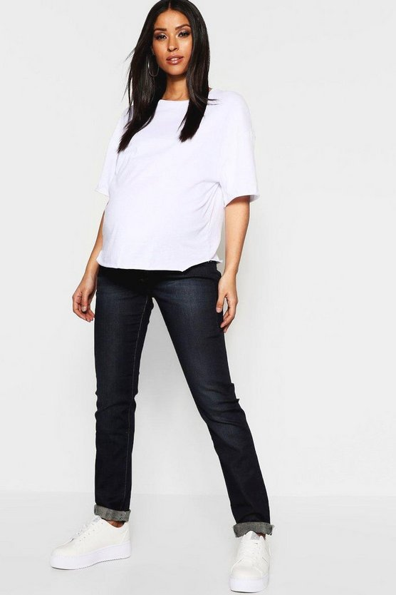 Womens Indigo Maternity Under The Bump Straight Leg Jean
