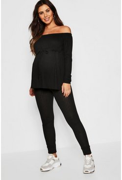 Womens Black Maternity Bardot Drawstring Jogger Set
