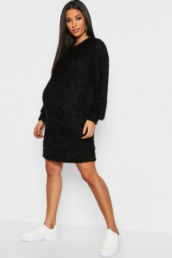 Black Maternity Eyelash Crew Neck Jumper Dress