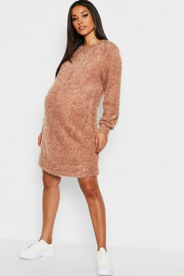 Womens Caramel Maternity Eyelash Crew Neck Jumper Dress