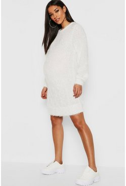 Dam Ivory Maternity Eyelash Crew Neck Jumper Dress