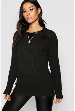 Womens Black Maternity Soft Knit Crew Jumper