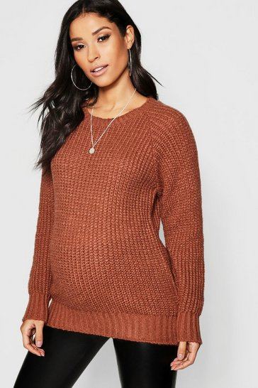Womens Tobacco Maternity Soft Knit Crew Jumper