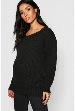 Womens Black Maternity Slash Neck Knitted Sweater
