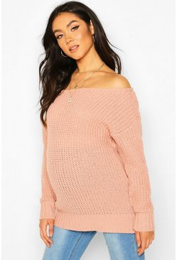 Dusky pink Maternity Slash Neck Knitted Sweater
