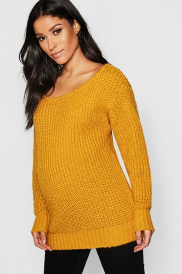 Womens Mustard Maternity Slash Neck Knitted Jumper