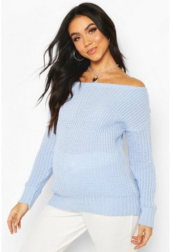 Powder blue Maternity Slash Neck Knitted Sweater