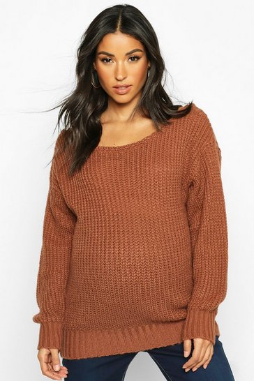 Womens Rust Maternity Slash Neck Knitted Jumper