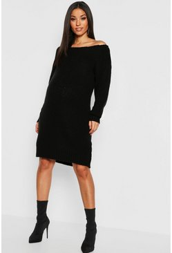 Black Maternity Slit Neck Knitted Sweater Dress