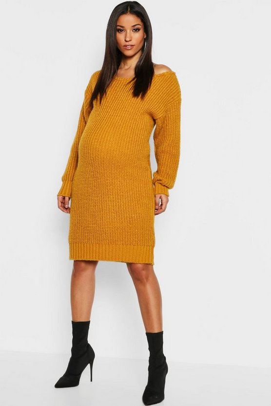 Maternity Slit Neck Knitted Jumper Dress