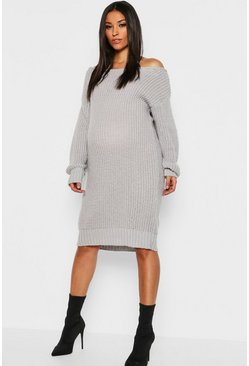 Womens Silver Maternity Slit Neck Knitted Sweater Dress