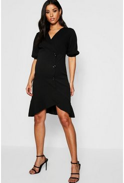 Womens Black Maternity Button Frill Midi Dress