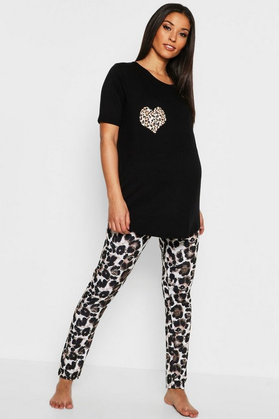 Maternity Leopard Heart PJ Set