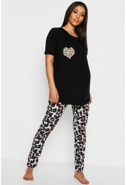 Womens Black Maternity Leopard Heart PJ Set