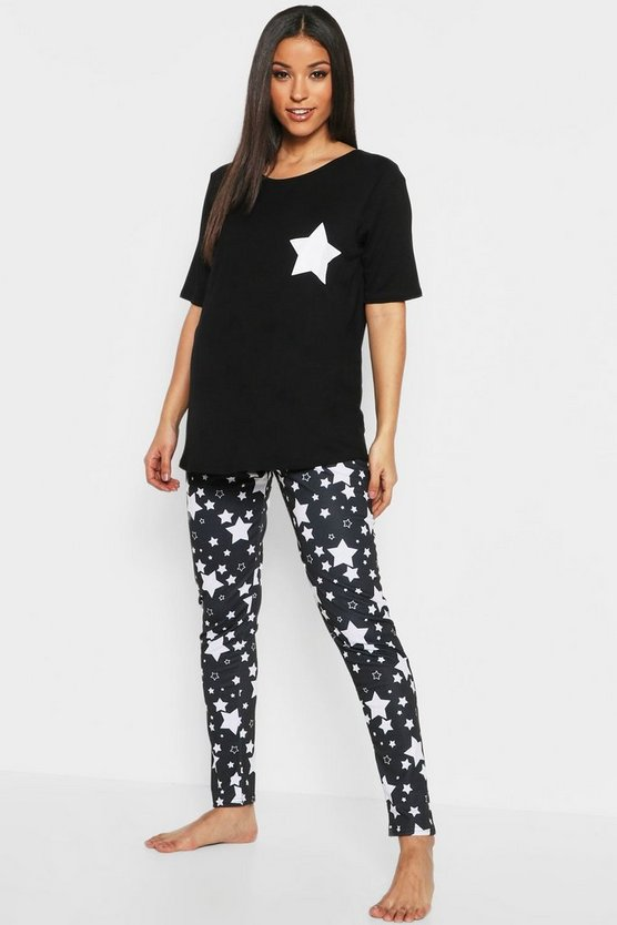 Maternity Star PJ Set, Black, Donna