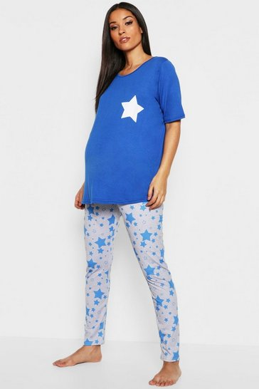 Womens Blue Maternity Star PJ Set