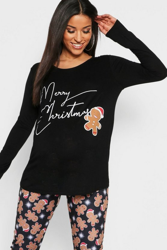 Maternity Christmas Gingerbread Man PJ Set
