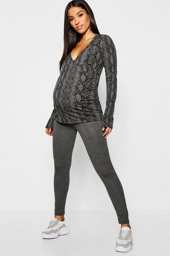 Womens Grey Maternity Snake Print Wrap Lounge Set