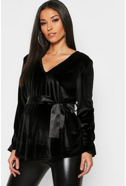 Womens Black Maternity Velvet Wrap Top With Ribbon Tie