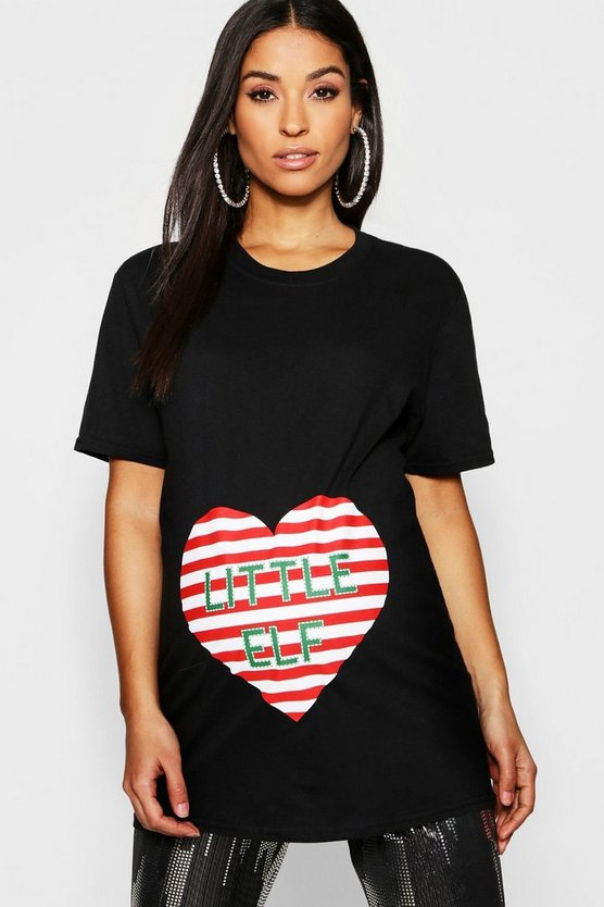 Womens Black Maternity Little Elf Tee