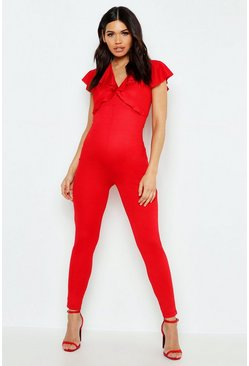 Womens Red Maternity Double Frill Plunge Jumpsuit
