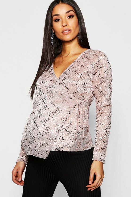 Maternity Sequin Sheer Wrap Front Top