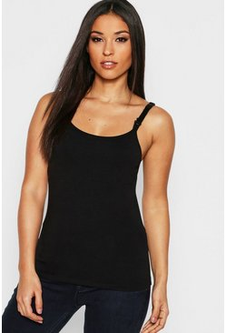 Womens Black Maternity Nursing Cami Top