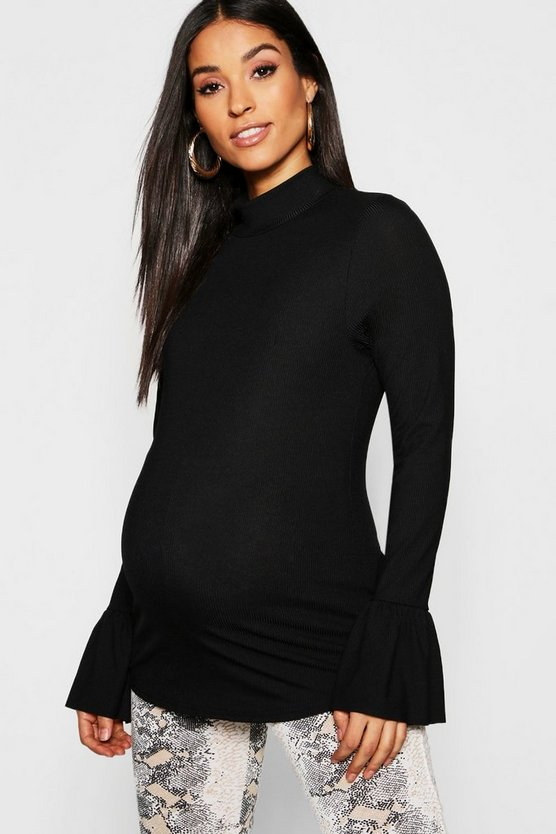 Womens Black Maternity Rib Long Sleeve Frill Cuff Top