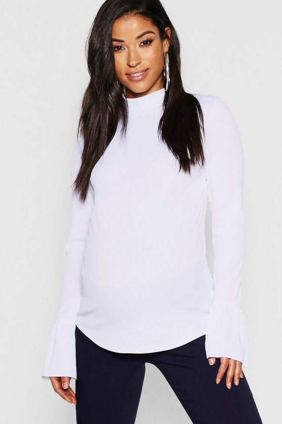Maternity Rib Long Sleeve Frill Cuff Top