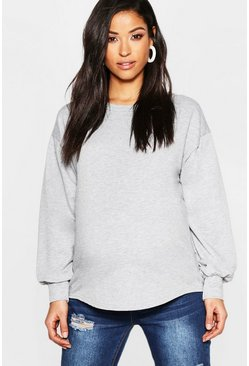 Womens Grey marl Maternity Curved Hem Loop Back Sweat