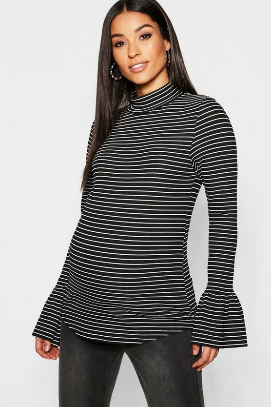 Maternity Stripe Frill Sleeve Rib Top