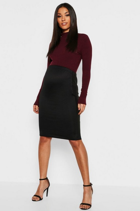 Maternity PU Panel Midi Skirt