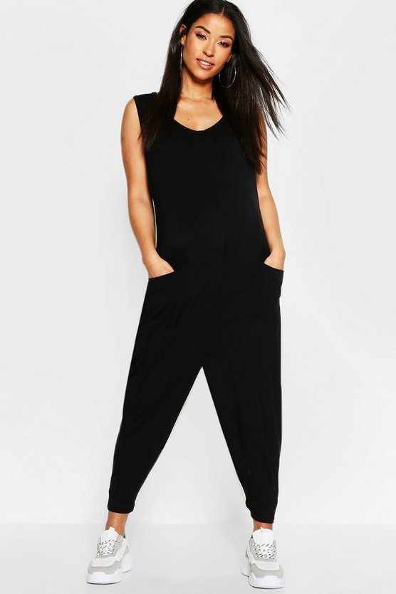Womens Black Maternity Jersey Lounge Romper