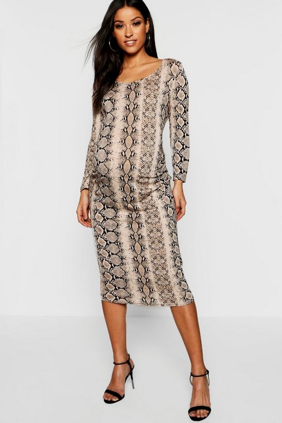Maternity Scoop Neck Snake Print Midi Dress