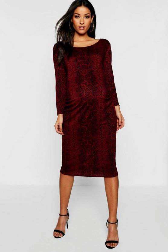 Womens Wine Maternity Scoop Neck Snake Print Midi Dress