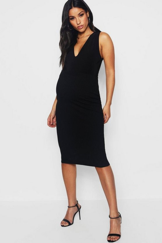 Black Maternity Basic Rib Midi Skirt
