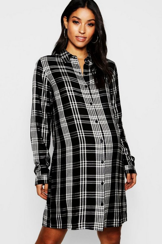 Maternity Check Shirt Dress