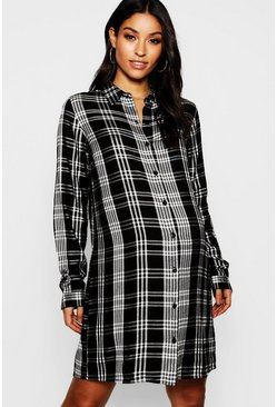 Womens Black Maternity Check Shirt Dress
