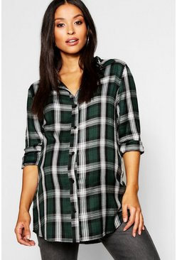Womens Green Maternity Check Shirt