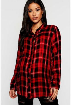 Womens Red Maternity Checked Shirt